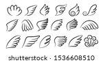 sketch wings pair. hand drawn... | Shutterstock .eps vector #1536608510