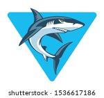 shark in blue triangle  vector... | Shutterstock .eps vector #1536617186