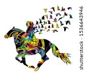 Abstract Colorful Woman Horse...