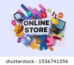 modern online store banner.... | Shutterstock .eps vector #1536741356