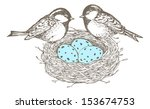 nest with eggs and birds are... | Shutterstock .eps vector #153674753