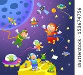 boy girl astronaut in space... | Shutterstock .eps vector #153674756