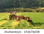 Постер, плакат: a agricultural tractor cuts