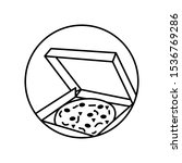pizza  box icon. simple line ...