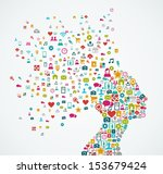 woman head silhouette made with ...