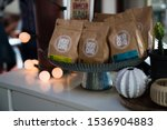 Small photo of Clarkston, Michigan / US 10 20 2019 : Fall day in the small town cafe Honcho coffee