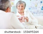 portrait of mature woman... | Shutterstock . vector #153695264