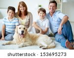 portrait of happy family with... | Shutterstock . vector #153695273