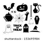 illustrated halloween icons in... | Shutterstock .eps vector #153695984
