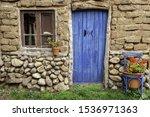 Old Blue Wooden Door ...