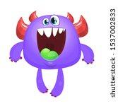 funny cartoon monster. vector... | Shutterstock .eps vector #1537002833