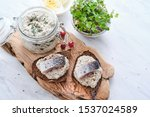 Stock photo forshmak traditional jewish cuisine sandwich with minced herring fillets with apple onion and 1537024589