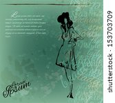 fashion girl on an old grunge... | Shutterstock .eps vector #153703709
