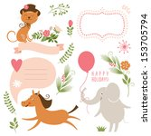 set of animals illustrations... | Shutterstock .eps vector #153705794