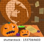 witch shadow cooking potion... | Shutterstock .eps vector #1537064603
