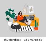 girl girl sitting and resting... | Shutterstock .eps vector #1537078553