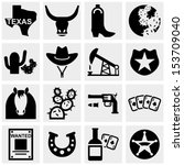 Texas Vector Icons Set On Gray.