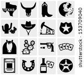 Texas Vector Icons Set On Gray.