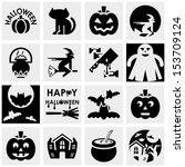 halloween vector icons set on... | Shutterstock .eps vector #153709124