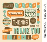 a set of retro style 'thank you'... | Shutterstock .eps vector #153712064