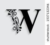 letter w. black flower alphabet....   Shutterstock .eps vector #1537132346