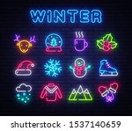 winter neon icons set.... | Shutterstock .eps vector #1537140659