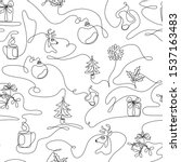 one line drawing christmas...   Shutterstock .eps vector #1537163483