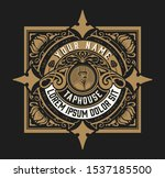 antique logo for packing with... | Shutterstock .eps vector #1537185500