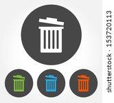 colorful trash bin vector icon... | Shutterstock .eps vector #153720113