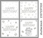 happy birthday cards set. ... | Shutterstock .eps vector #1537237310