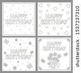 happy birthday cards set. ... | Shutterstock .eps vector #1537237310