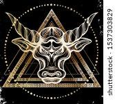 head bull drawing line art logo ... | Shutterstock .eps vector #1537303829