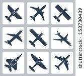 vector isolated plane icons set   Shutterstock .eps vector #153730439