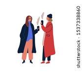 women drinking hot beverage... | Shutterstock .eps vector #1537338860