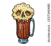 glass of beer with foam skull.... | Shutterstock .eps vector #1537340480