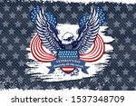 Veterans day eagle emblem. American symbol of freedom. Retro color logo of falcon. Eagle detailed logo. Veterans day background.