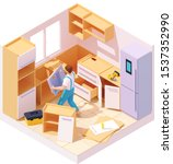 vector isometric new kitchen... | Shutterstock .eps vector #1537352990