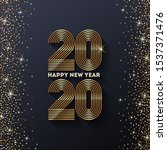 golden 2020 new year logo with...   Shutterstock .eps vector #1537371476