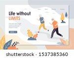 elderly couple make fitness... | Shutterstock .eps vector #1537385360