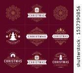 christmas vector ornate labels... | Shutterstock .eps vector #1537390856