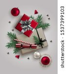 christmas composition made of... | Shutterstock .eps vector #1537399103