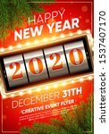 xmas and new 2020 year party... | Shutterstock .eps vector #1537407170