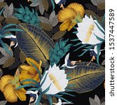 seamless floral pattern with... | Shutterstock .eps vector #1537447589