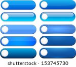 set of blank blue buttons for...   Shutterstock .eps vector #153745730