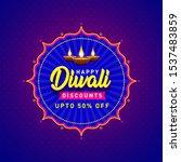 happy diwali discounts upto 50... | Shutterstock .eps vector #1537483859
