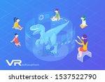 children looking on dinosaur in ... | Shutterstock .eps vector #1537522790