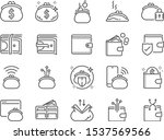 wallet line icon set. included... | Shutterstock .eps vector #1537569566