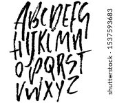 hand drawn dry brush font.... | Shutterstock .eps vector #1537593683