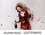 excited girl waving her hair... | Shutterstock . vector #1537598690