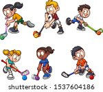 cartoon boys and girls playing... | Shutterstock .eps vector #1537604186